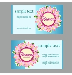 Two business cards with floral disign vector image