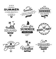 beach retro labels set on white vector image