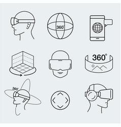 virtual reality design set vr thin line icon vector image vector image