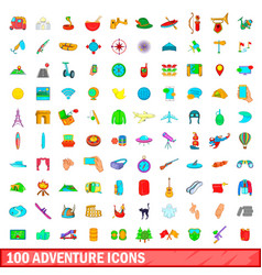 100 adventure icons set cartoon style vector