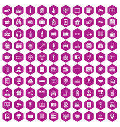 100 camera icons hexagon violet vector