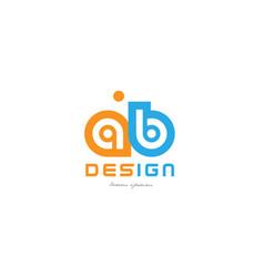 Ab a b orange blue alphabet letter logo vector