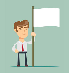 abstract businessman waves the white flag of vector image