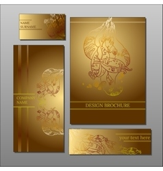 abstract floral sepia design cards and brochure vector image