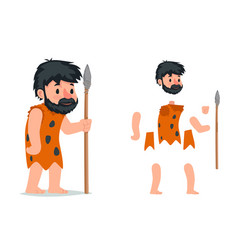Ancient caveman with stone spear action rpg game vector