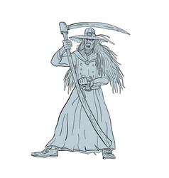 Ankou henchman of death with scythe drawing vector