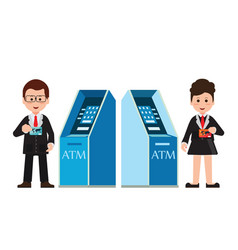 atm machine money deposit and withdrawal or vector image