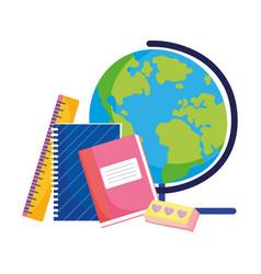 back to school globe notebook eraser ruler vector image