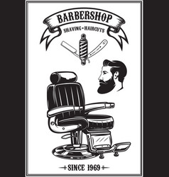Barbershop poster with barber chair haircut tools vector