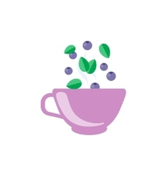 Blueberry Tea In Violet Cup vector