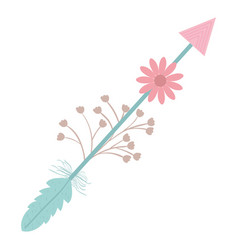 bohemian arrow with feathers and flowers vector image