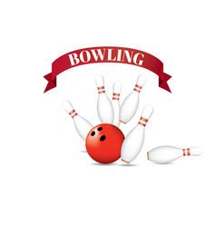 bowling red ball pins red ribbon vector image