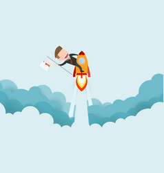 Businessman riding a rocket and smoke through vector