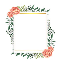 Card with roses and branches plants leaves vector