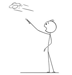 Cartoon drawing of man watching ufo or flying vector