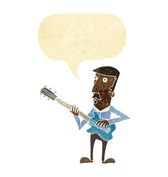 Cartoon man playing electric guitar with speech vector