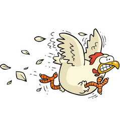 cartoon running chicken vector image
