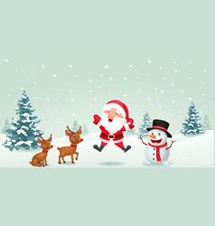 cartoon santa claus reindeer and snowman vector image