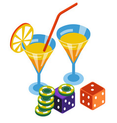 casino club poker chips and dices bar cocktails vector image