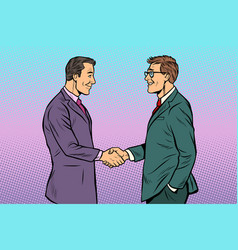 caucasian businessmen men handshake vector image