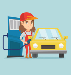 Caucasian worker of gas station refueling a car vector
