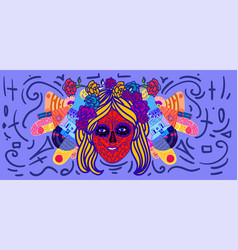Cheerful day dead poster colorful woman vector