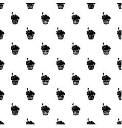 cherry cupcake pattern seamless vector image