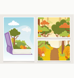 Childrens tale book nature vegetation forest vector
