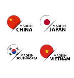 chinese japanese korean and vietnamese stickers vector image