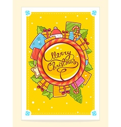 christmas card with gifts around world an vector image
