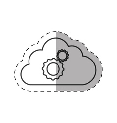 cloud gear teamwork technology thin line vector image