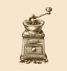 coffee grinder sketch vintage vector image