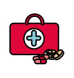 Colorful suitcase health with treatment icon vector