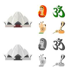 Country india cartoonmonochrome icons in set vector