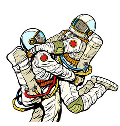 couple in love astronaut man and woman love vector image
