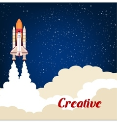 Creative poster with rocket srart launch vector image vector image