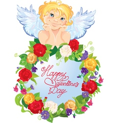 Cute angel with flowers Valentines Day card design vector image