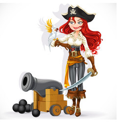 cute pirate girl with parrot and cannonry vector image