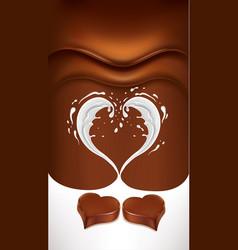 Dark chocolate background with milk heart splash vector