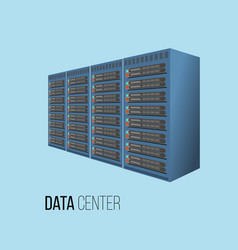 data center hosting concept with data storage vector image