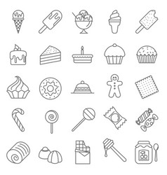 Dessert and sweet icons vector