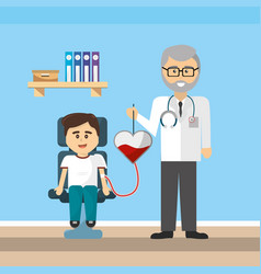 Doctor office and blood donation design vector