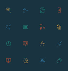 ecommerce icons line style set with search shop vector image