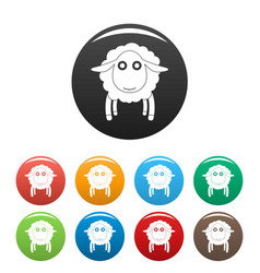face of sheep icons set color vector image