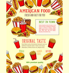 Fast food sketch poster of fastfood snacks vector