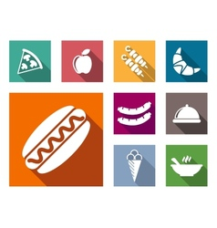 Flat colorful food icons vector