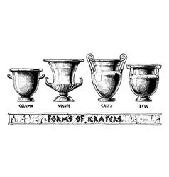 forms kraters greek vessel shapes vector image