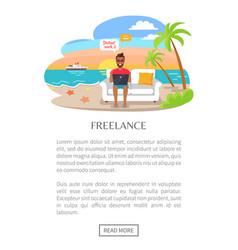 freelance poster freelancer working on laptop vector image