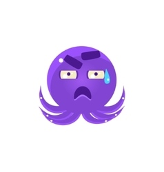 Funny octopus in cold sweat emoji vector
