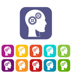 gears in human head icons set flat vector image